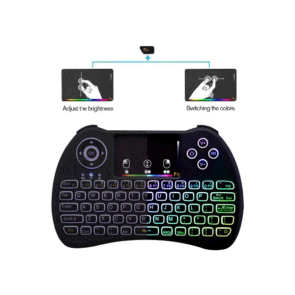 (Backlit-Version) Ovegna H9i: H9i Wireless QWERTY Wireless Mini-Tastatur mit Touchpad für SMART TV, Mini-PC, Konsolen, Bananen-IP, Raspberry PI, Android TV-Box, KODI, Windows 8/7/10