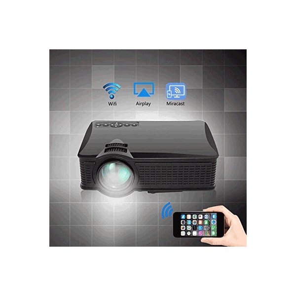 Ovegna S60 Mini LED Projector 1500 Lumens 1000:1 800*480P Support 1080P WiFi LCD Projector Multi-Screen with iOS & Android Hover