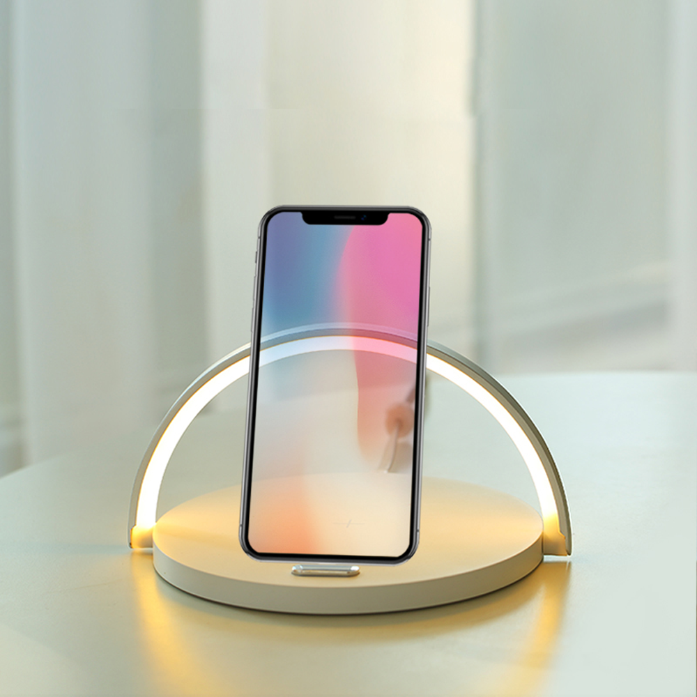 Ovegna S21: Fast wireless charger, 10 W, Type C, with adjustable brightness LEDs and telephone holder, Black, for iPhone, Samsung, Huawei, Nexus, Nokia and Xiaomi Hover