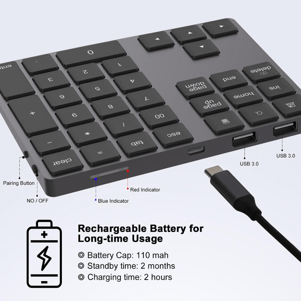 Ovegna BT18: Numeric Keyboard Extension, Wireless, Bluetooth 3.0, with integrated Lithium Battery, for Mac / Mac Pro, MacBook, Tablet, iPad, PC, Laptop, MacOS, Windows, Android Hover