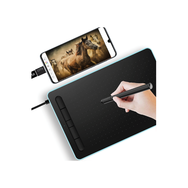 Ovegna W9: Digital Graphics Tablet, Micro USB, Stylus, 10 Inches, for Android and PC Smartphones, MacOS and Windows (Blue)