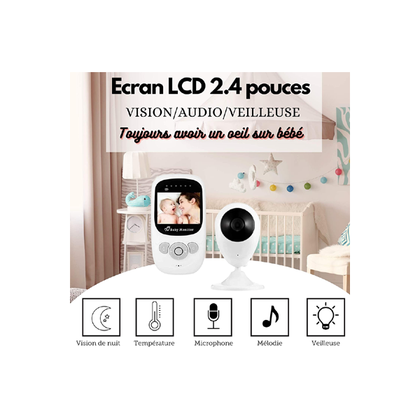"Ovegna BM1: Babyphone Camera Wireless Baby Monitor, 2.4 ""LCD Screen, Transmission Range 100 Meters, Night Vision, Speaker Microphone, Temperature Sensor, Night Light, Lullaby, Rechargeable Hover"