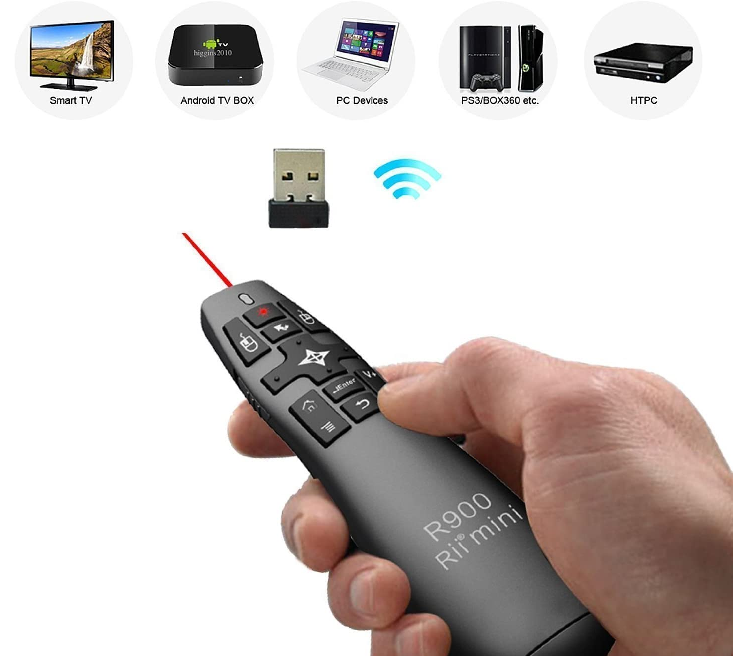 Rii Mini R900 Wireless Remote Control with Gyro Mouse for Smart TV, Console (PS3 - Xbox 360), Computer (Windows - Mac - Linux) and Mini PC Hover